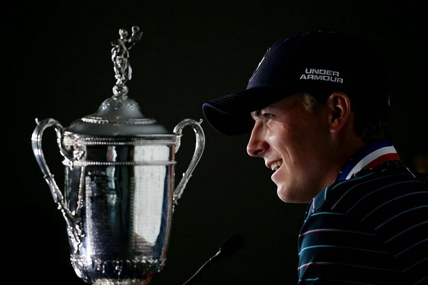 Jordan Spieth of the United States speaks with the media after winning the 115th US Open Championship at Chambers Bay on June 21, 2015.