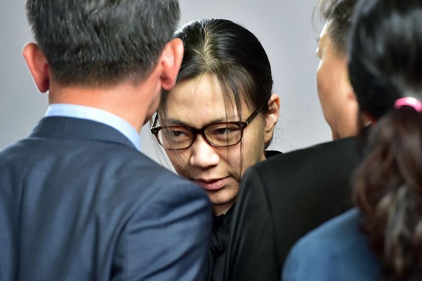 Former Korean Air executive Cho Hyun Ah (centre) after she was freed by a Seoul appeals court on May 22.