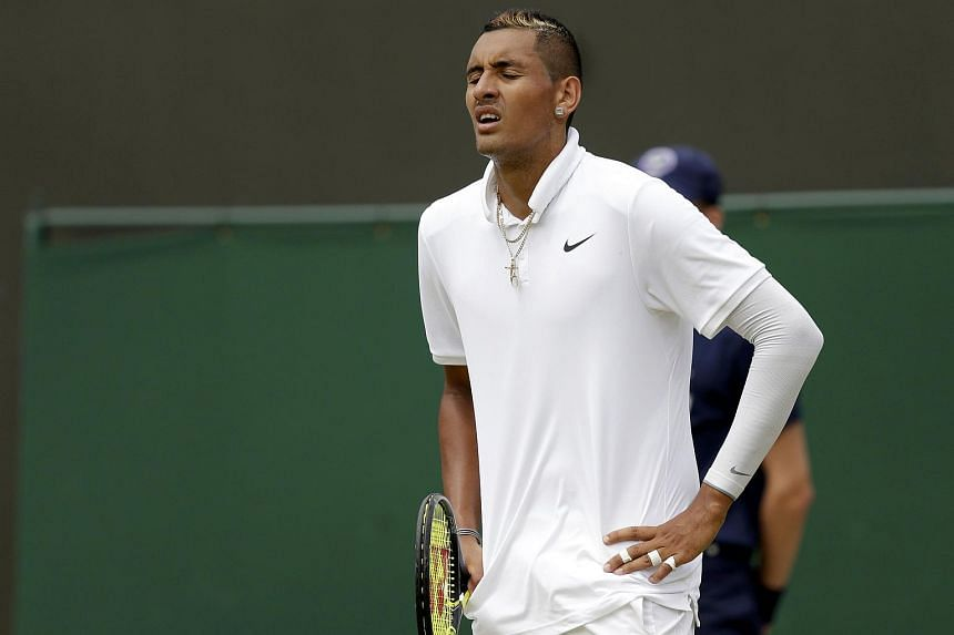 Nick Kyrgios of Australia reacts during his match against Richard Gasquet of France.