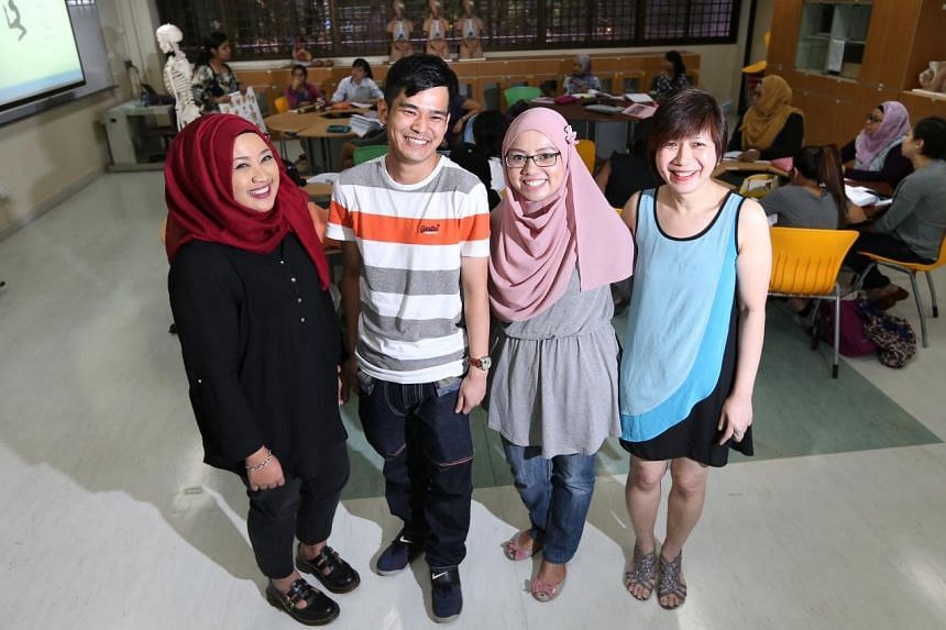 Enrolled nurses (from left) Nur Rimma Mohd Ali, Ang Eng Ann, Sa'adiah Ramlee and Doreen Cheok are now studying to bridge the gap and become registered nurses.