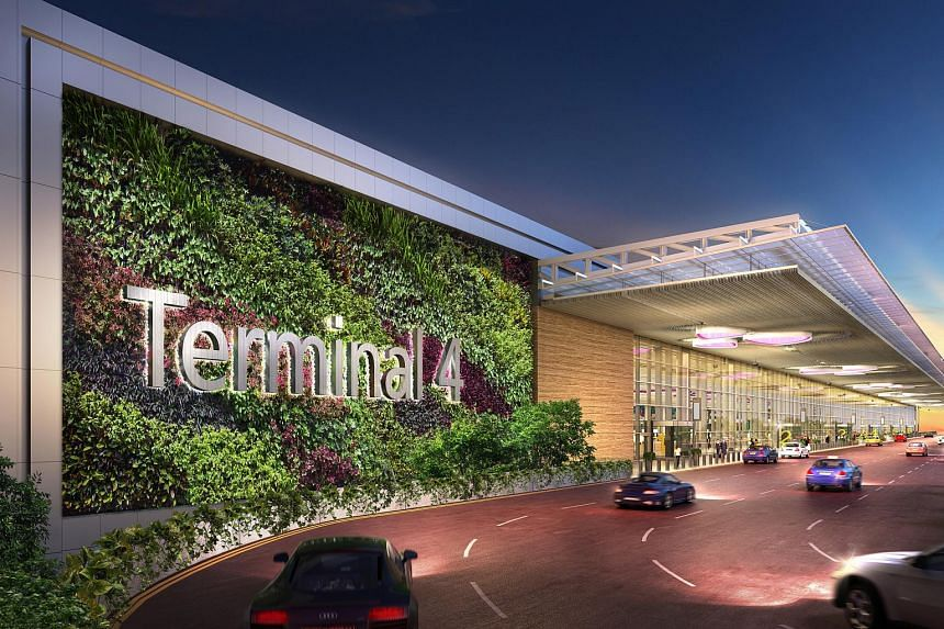 An artist's impression of the driveway to the new Changi Airport Terminal 4.