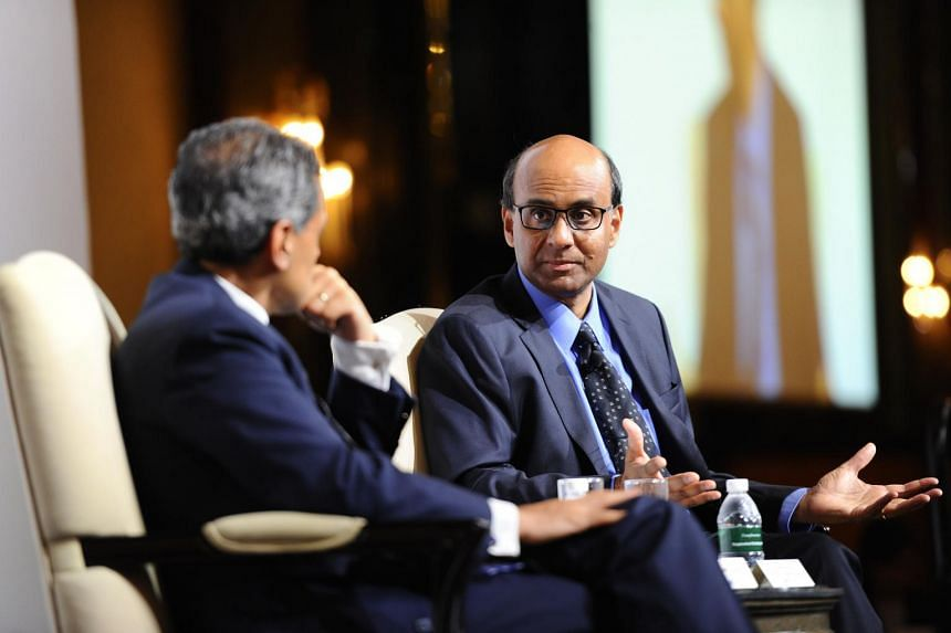 Singapore's Deputy Prime Minister Tharman Shanmugaratnam speaking during the lunchtime dialogue at the Institute of Policy Studies' SG50+ Conference on July 3.