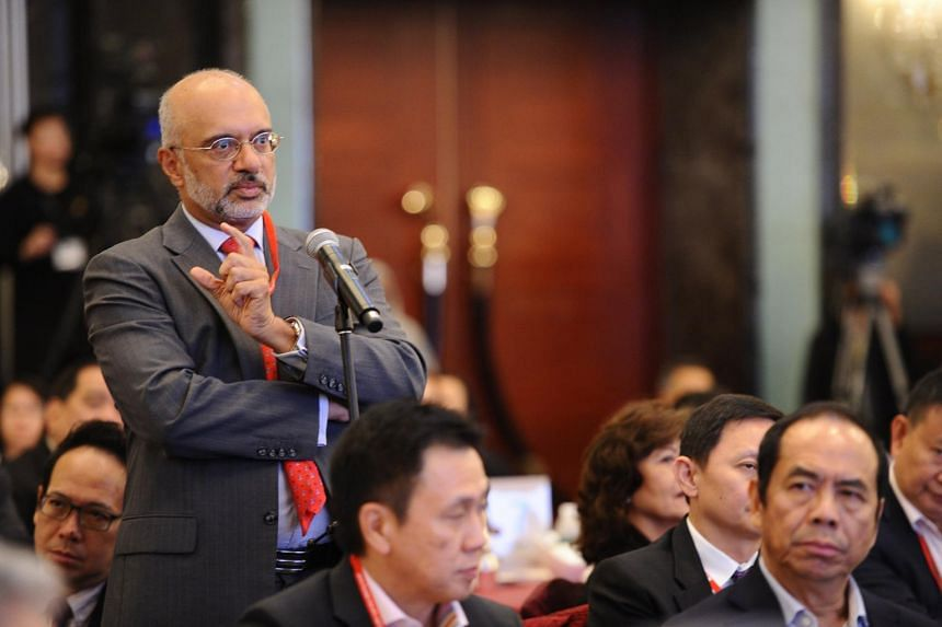 DBS CEO Piyush Gupta asks a question during the lunchtime dialogue at the Institute of Policy Studies' SG50+ Conference on July 3.