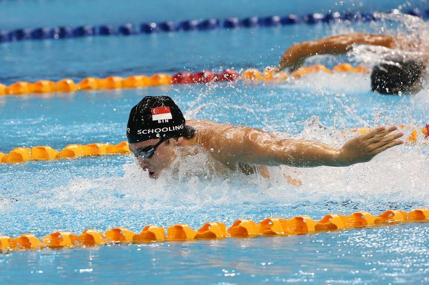 Singapore's Joseph Schooling swims the butterfly leg for the 28th SEA Games swimming men's 4x100m medley relay final held at the OCBC Aquatic Centre on June 11, 2015.