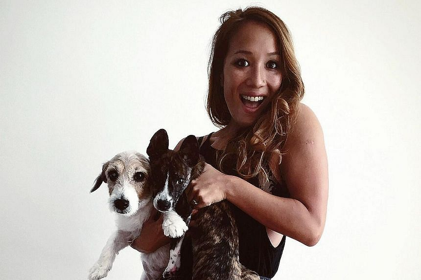 Singer Alicia Pan takes her dogs to Sentosa on weekends.