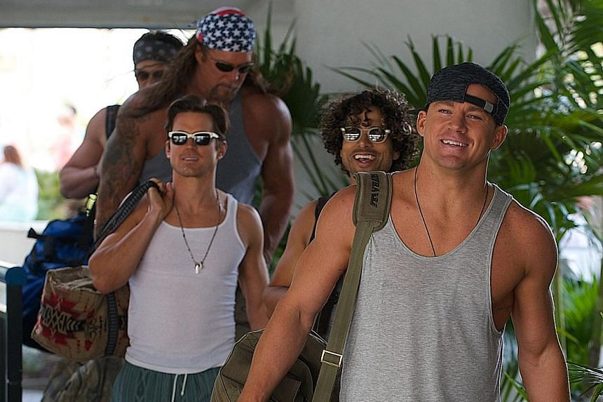 Reunion: (clockwise from right) Channing Tatum, Matt Bomer, Kevin Nash and Adam Rodriguez in Magic Mike XXL.