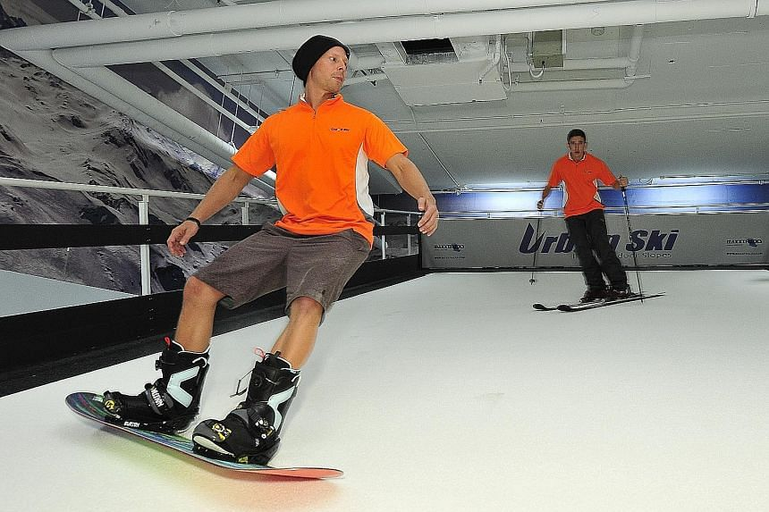 A conveyor belt simulates the experience of skiing at Urban Ski.