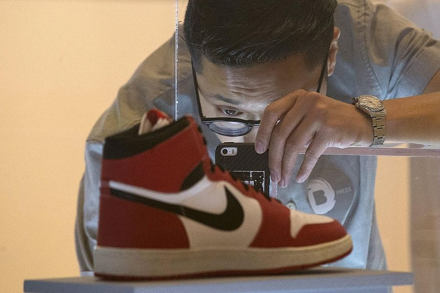An Air Jordan I on display at the exhibition, The Rise Of Sneaker Culture.