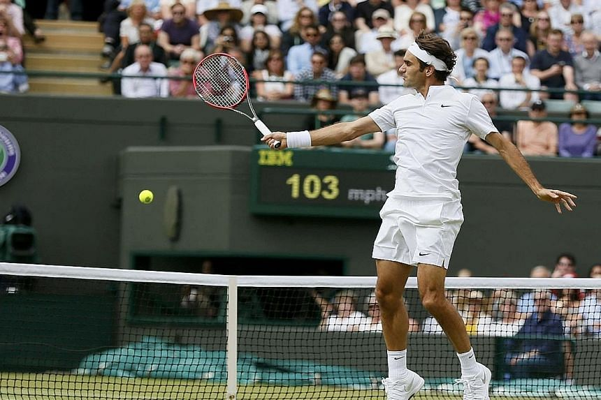 This high backhand volley by seven-time Wimbledon champion Roger Federer dinked away at the net to end Gilles Simon's misery in straight sets in the quarter-finals.