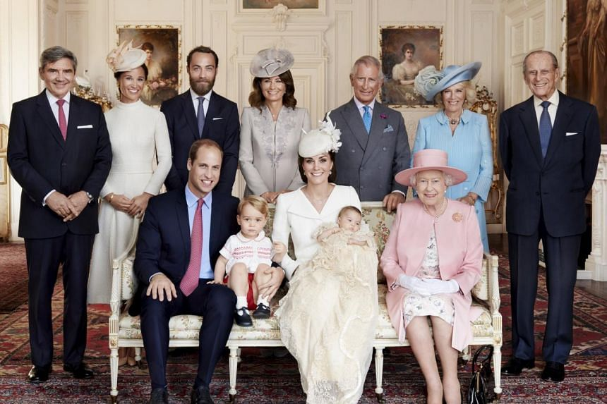 Britain's royals and the Middleton family with new addition Princess Charlotte.