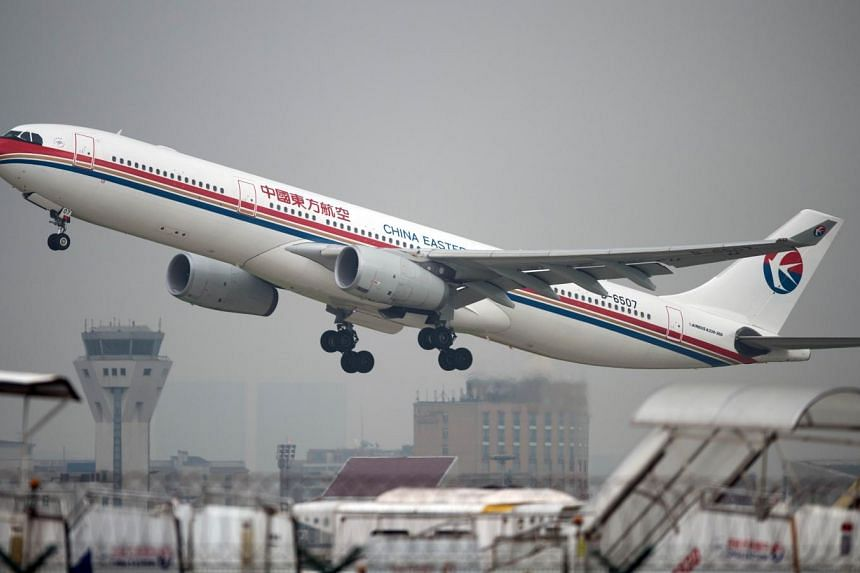 A China Eastern Airlines plane taking off at Shanghai's Hongqiao airport.