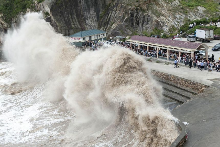 People gather to see huge waves as typhoon Chan-hom comes near Wenling, east China's Zhejiang province on July 10, 2015.