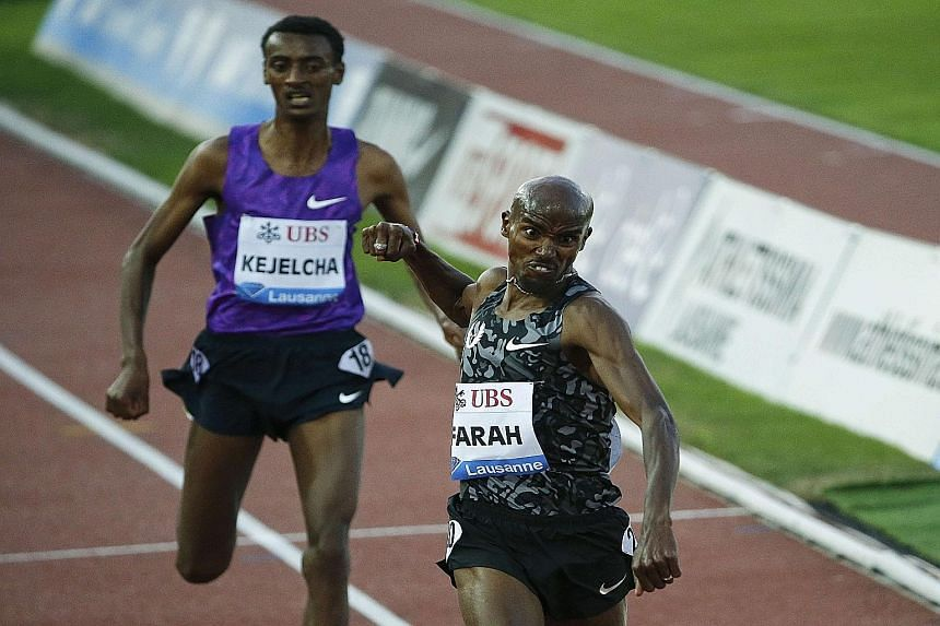 Mo Farah punching out in delight after he finishes ahead of Yomif Kejelcha of Ethiopia in the 5,000m at the IAAF Diamond League meet in Lausanne. The British runner has been in the spotlight after his American coach Alberto Salazar had to fend off ac