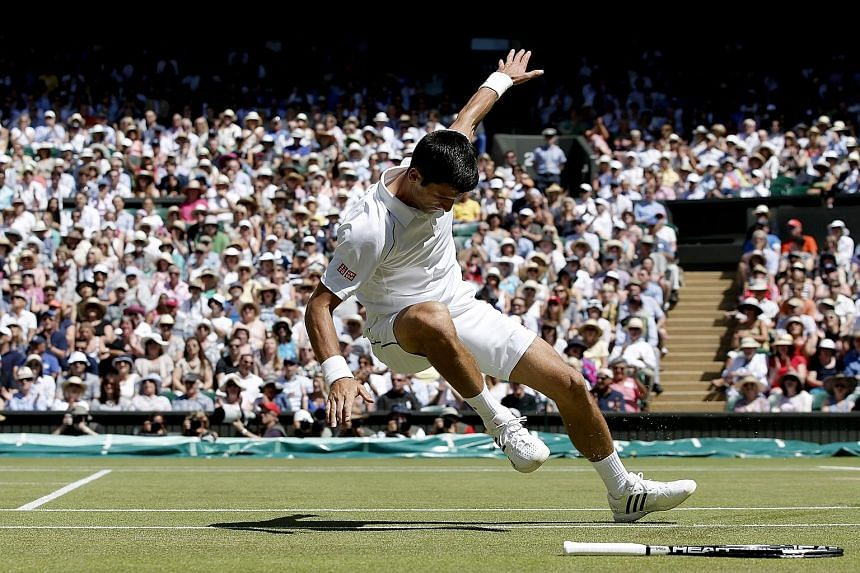 World No. 1 Novak Djokovic skids and falls during his Wimbledon semi-final against Richard Gasquet but shrugs off a shoulder complaint to crush his opponent in three straight sets and saunters through to tomorrow's final. He will meet either Roger Fe