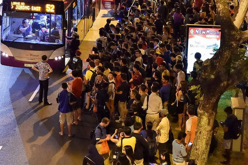 The scene outside Bishan MRT station on Tuesday night. More than 250,000 commuters were affected by the breakdown.