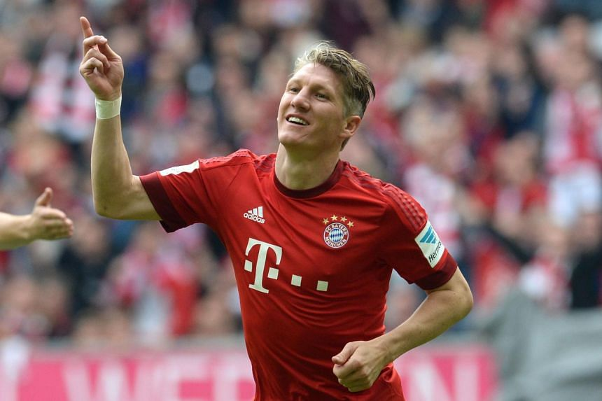 Bastian Schweinsteiger celebrating after the second goal during German first division Bundesliga football match FC Bayern Munich vs 1 FSV Mainz 05 at the Allianz Arena in Munich, southern Germany.
