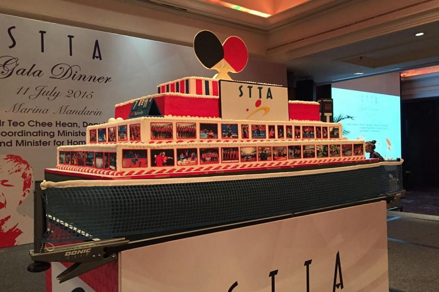 A giant cake at the Singapore Table Tennis Association's (STTA) gala dinner held on Saturday evening at the Marina Mandarin Hotel.