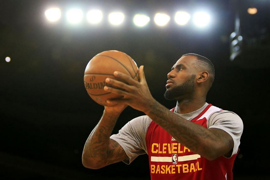 LeBron James #23 of the Cleveland Cavaliers practices for the 2015 NBA Finals against the Golden State Warriors.
