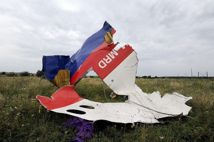 A July 18, 2014, photo shows a piece of wreckage of the Malaysia Airlines flight MH17 in Shaktarsk, Ukraine, a day after it crashed.