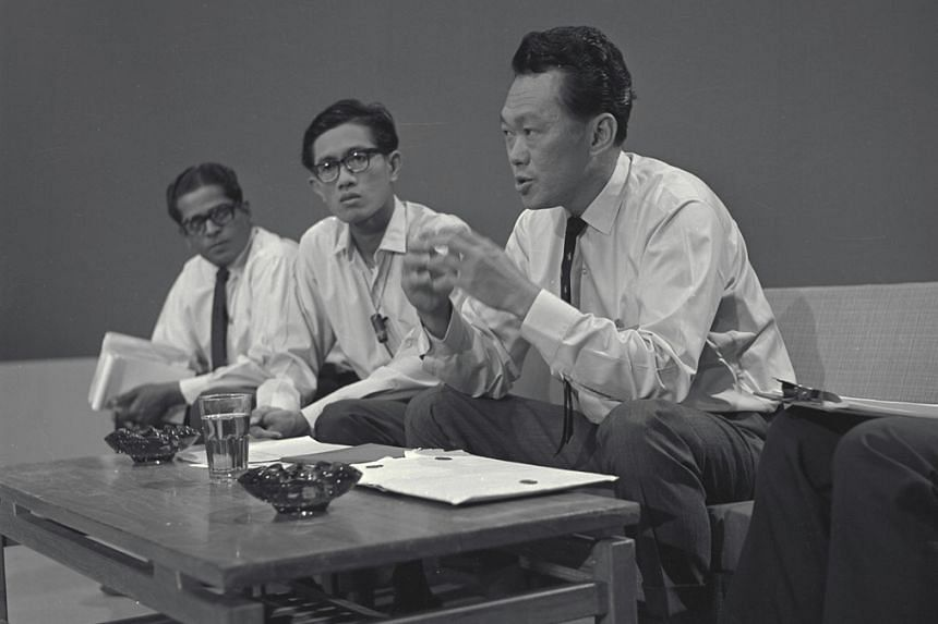 Then Prime Minister Lee Kuan Yew announcing Singapore's separation from Malaysia during a