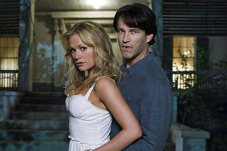 Anna Paquin and Stephen Moyer (both above) in True Blood. Charlaine Harris (top) is the author of the Sookie Stackhouse novels which inspired HBO's hit TV series. Midnight Crossroad and Day Shift, part of a trilogy.