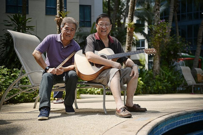 (Above) The remaining members of The Quests - Lim Wee Guan (left) and Henry Chua - have had to turn down requests to perform. (Left) The band in their heyday.