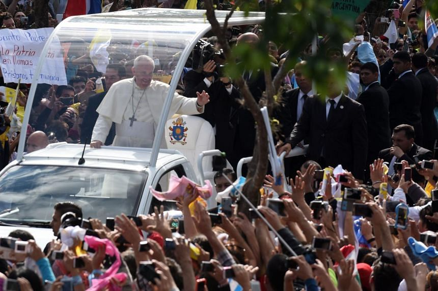 Pope Francis arrives at the Marian Shrine of Caacupe to deliver mass.