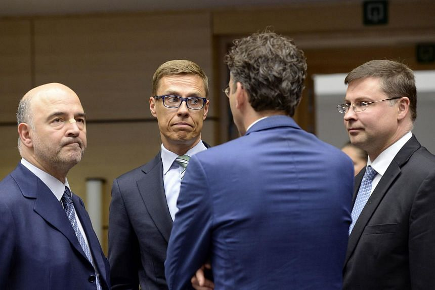 Eurogroup finance ministers meet at the Lex building in Brussels on July 11, 2015.
