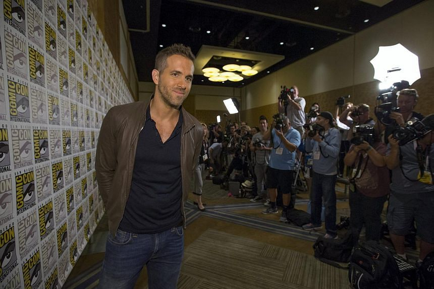 Ryan Reynolds poses at a press line for Deadpool during the 2015 Comic-Con International Convention in San Diego, California, on July 11, 2015.