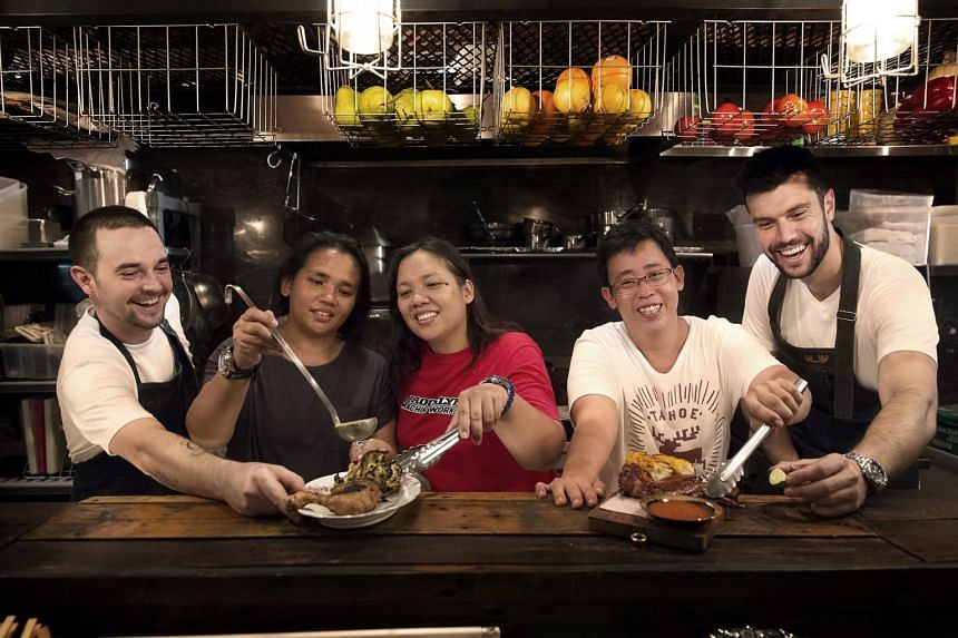 From left: Moosehead's head chef Drew Wilson, sisters and co-owners of Warong Nasi Pariaman Martina Emrin and Lenny Herdawati Emrin, Ah Hwee BBQ Chicken Wings' Mr Teng Wei Yi, and Moosehead's owner Daniel Ballis.