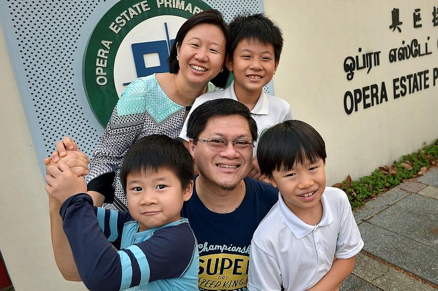 Ms Sharon Lim with her husband Fred Then and their sons (clockwise from top) Christopher, 10; Ian, eight; and Ethan, six.