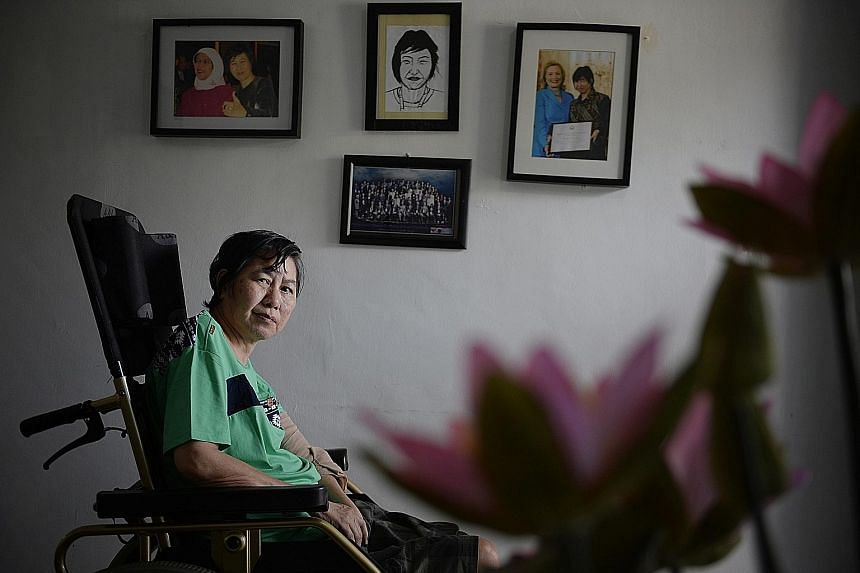 Ms Bridget Tan, who founded advocacy group Home, is still helping foreign workers as she recuperates after a stroke in Batam.
