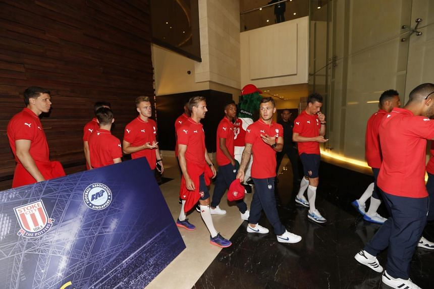 Arsenal players arriving in Singapore on Monday, July 13, 2015.