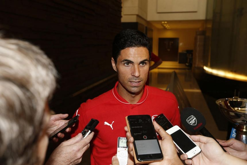 Arsenal team captain Mikel Arteta speaking to the media after his team arrived in Singapore on Monday.