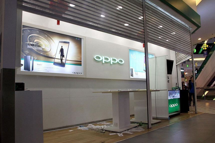 The aftermath at a smartphone shop in Low Yat Plaza in Bukit Bintang, where a huge brawl broke out on Saturday, July 11, 2015.