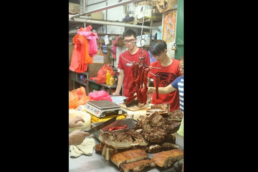 NOT FOR THE FAINT-HEARTED: You can also buy the meat fresh or already roasted as char siew or siew yoke here.