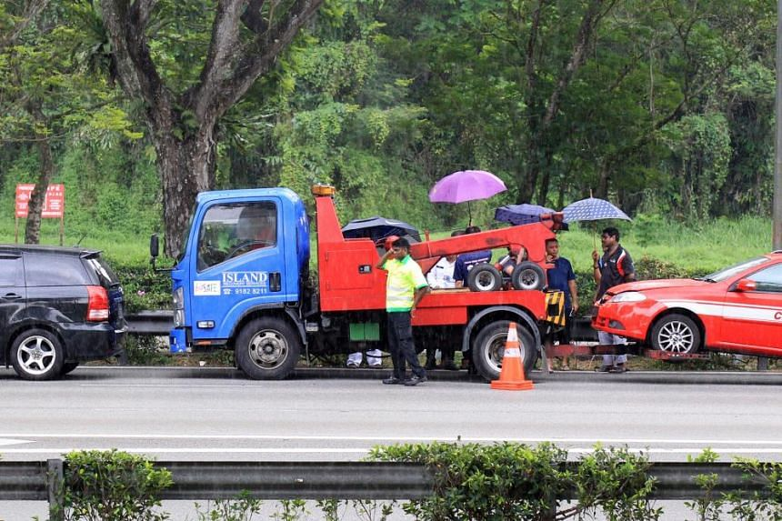 A Singapore Civil Defence Force vehicle on its way to another incident was also in the accident.
