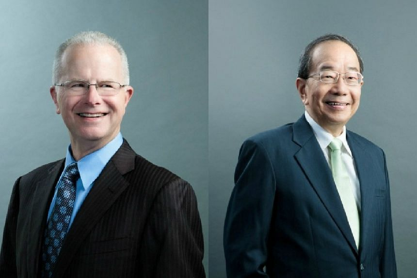 Former StarHub chief executive Terry Clontz (left) will succeed Mr Tan Guong Ching as chairman of the telco from Wednesday, July 15, 2015.