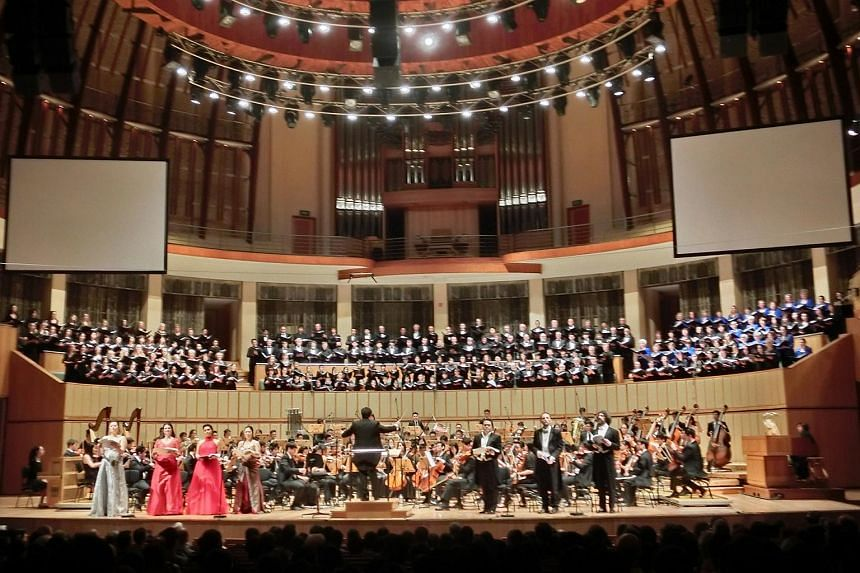 The Orchestra of the Music Makers performs Mahler's Eighth Symphony at the Esplanade Concert Hall.