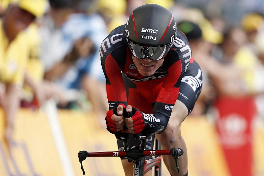 Tejay Van Garderen of US crosses the finish line during 1st stage of the 102nd edition of the Tour de France 2015.