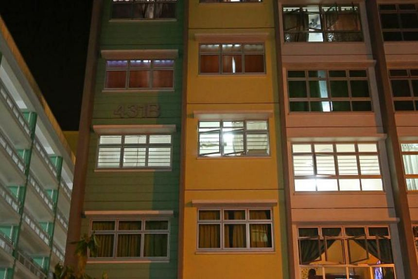 The block in Yishun Ave 1, where the incident happened. A man tried to climb down from the facade of a HDB block in Yishun in a bid to evade the cops.He was eventually arrested.