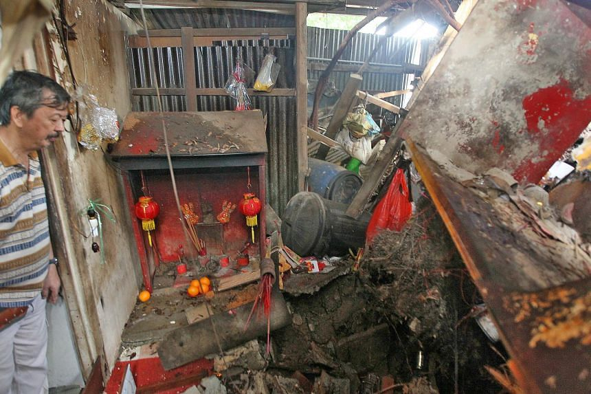 Parts of the coffee shop, including the toilet and a prayer altar, were damaged