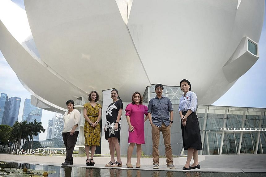 The curatorial team for Singapore STories: Then, Now, Tomorrow comprises (from left) Ms Stephanie Yeow, Ms Julia Vasko, Ms Honor Harger, Ms Susan Long, Ms Joyce Fang and Ms Huang Lijie.