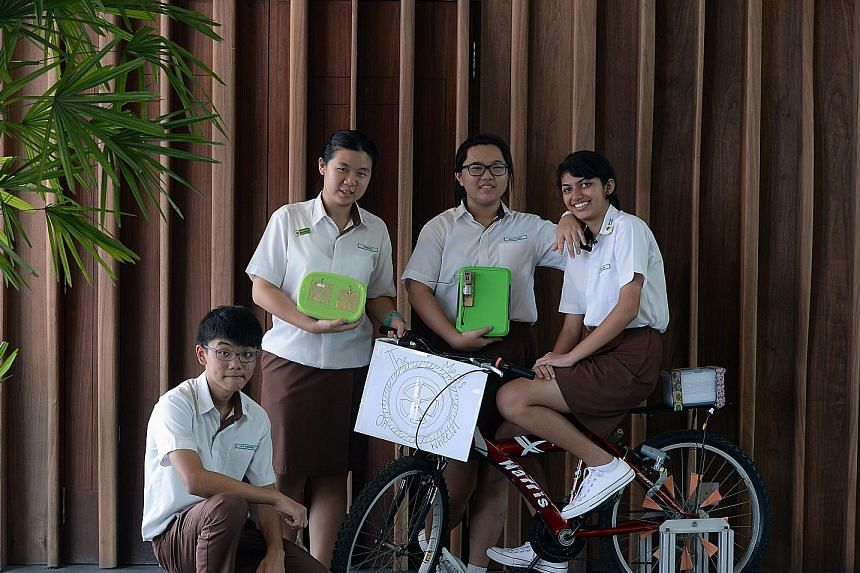 Chestnut Drive Secondary School students (from left) Sivathorn Sivalet, Zahid Mohamed, Haziq Roslan and Pung Yu Sing, all 15, won in the eco-friendly materials section by creating biodegradable plastic files from waste food.