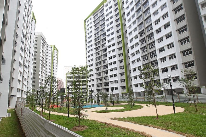 """Some complaints have surfaced at the BTO project Green Leaf in Tampines. Mr Desmond Lee said about a third of all new BTO flats' residents ask for help after collecting their keys – and about three-quarters of these are about defects, with """"the vast major"""