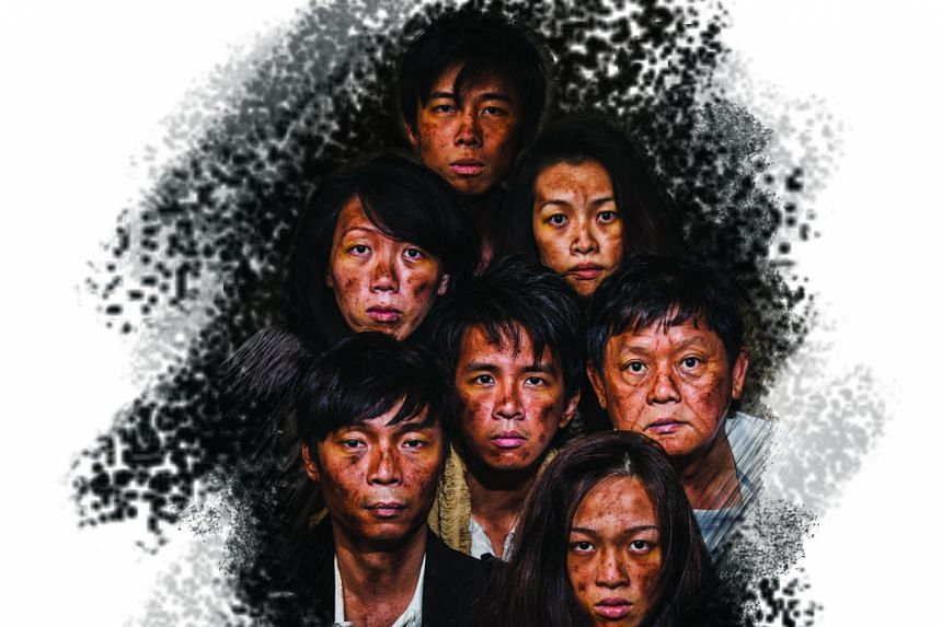 Seven actors will play 15 roles in The Lower Depths. They are (clockwise from top) Neo Hai Bin, Mia Chee, Johnny Ng, Jean Toh, Tay Kong Hui, Koh Wan Ching, and Hang Qian Chou (centre).