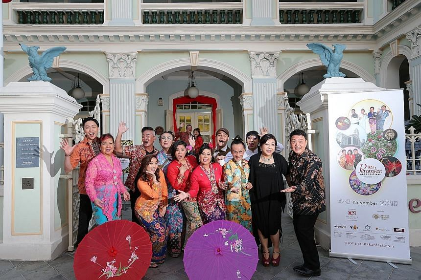 Actors in the Peranakan plays include (from far left) Dennis Heng, Shirley Tay, Richard Chia, Andriana Tanubrata, Melvyn Chew, Kimberly Chan, Jackie Pereira, Nicholas Bloodworth, Francis Hogan, Reggie Ismail, Koh Chieng Mun and Henry Heng. At the bac
