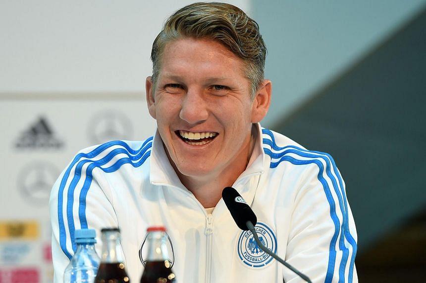 German midfielder Bastian Schweinsteiger at a press conference.