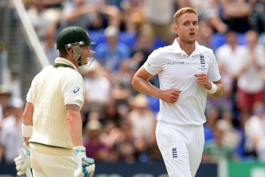 England's Stuart Broad (right) after the dismissal of Australia's Michael Clark during the Investec Ashes Test Series First Test between England and Australia.