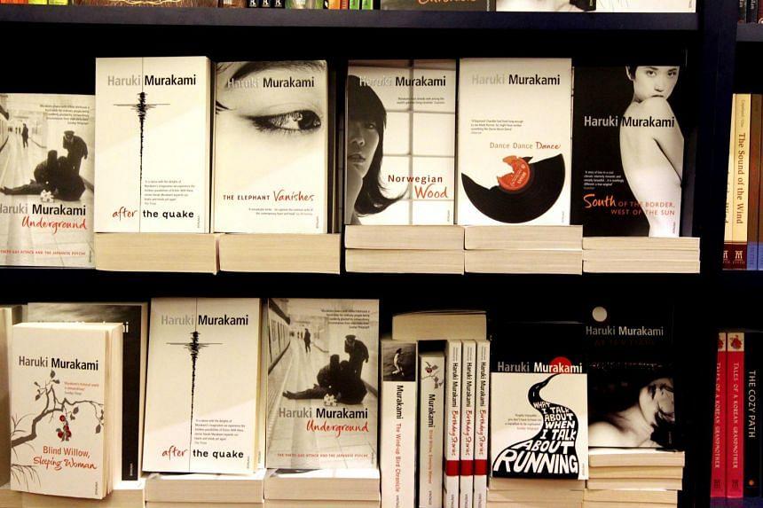 Bookshelves filled with books by Japanese writer Haruki Murakami. ST PHOTO